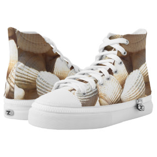 Sunny Tropical Exotic Summer Beach Sea Shells Printed Shoes