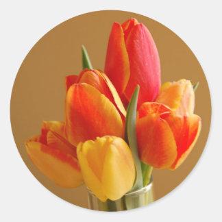 Sunny Tulips Classic Round Sticker