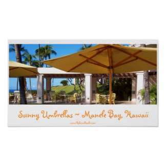 Sunny Umbrellas at Manele Bay, Hawaii Poster