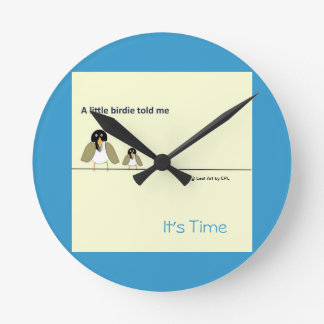 Sunny Yellow and Bright Blue- A Little Birdie Told Round Clock