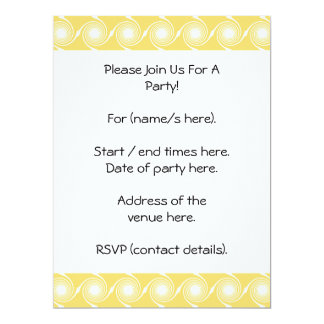 Sunny Yellow and White Swirl Pattern. Custom 17 Cm X 22 Cm Invitation Card