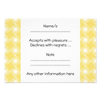 Sunny Yellow and White Swirl Pattern Custom Personalized Invite