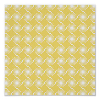 Sunny Yellow and White Swirl Pattern. Custom Poster