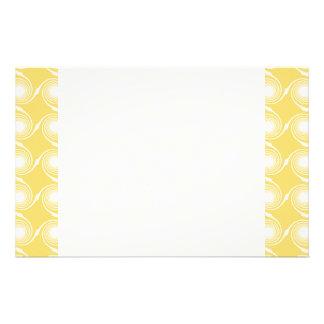 Sunny Yellow and White Swirl Pattern. Custom Stationery