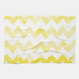 Sunny Yellow Chevrons on a Yellow Map Tea Towel