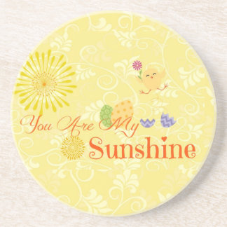 Sunny Yellow Chick and Easter Eggs Drink Coaster