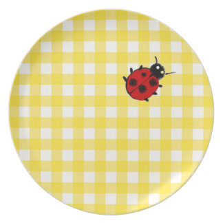 Sunny Yellow Classic Gingham with Ladybug Dinner Plates