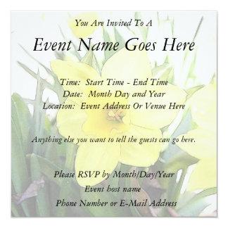 """Sunny Yellow Daffodil 5.25"""" Square Invitation Card"""