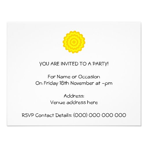 Sunny yellow flower. invite