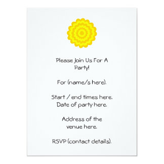 Sunny yellow flower. 6.5x8.75 paper invitation card