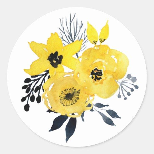 Sunny Yellow Flowers Wedding Sticker