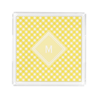 Sunny Yellow Gingham with Diamond Monogram Acrylic Tray