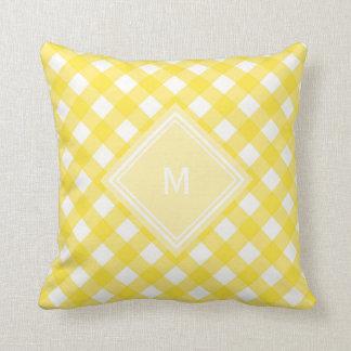 Sunny Yellow Gingham with Diamond Monogram Cushion