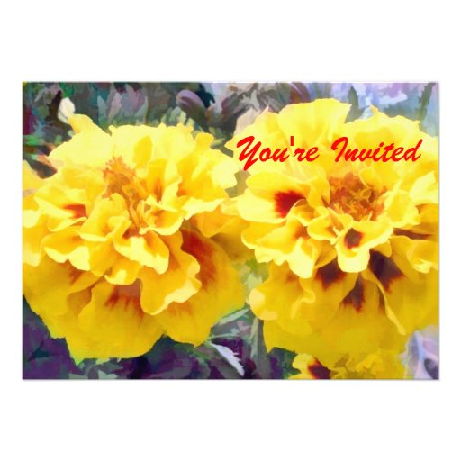 Sunny Yellow Marigolds Custom Invitations