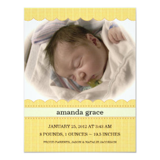 Sunny Yellow New Baby Photo Announcements