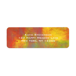 Sunny Yellow Orange Green Rustic Grunge Abstract Return Address Label