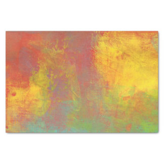 Sunny Yellow Orange Green Rustic Grunge Abstract Tissue Paper