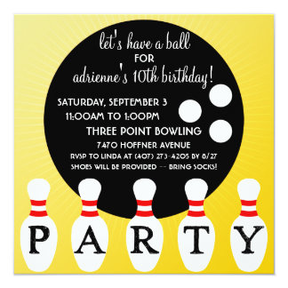 Sunny Yellow Pin Party Bowling Birthday Party 13 Cm X 13 Cm Square Invitation Card