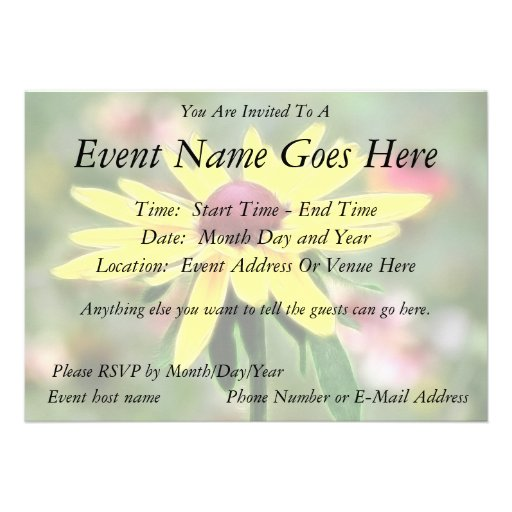 Sunny Yellow Rudbeckia Personalized Invitations