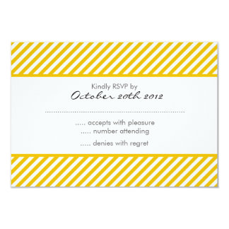 sunny yellow stripes pattern RSVP 9 Cm X 13 Cm Invitation Card