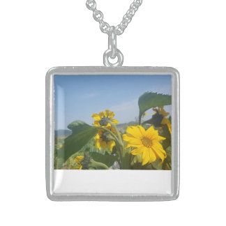 Sunny Yellow Sunflower Floral Square Necklace