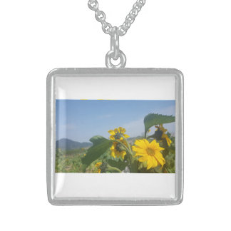 Sunny Yellow Sunflower Nature Square Necklace