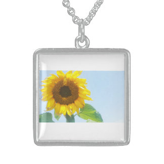 Sunny Yellow Sunflower Silver Square Necklace