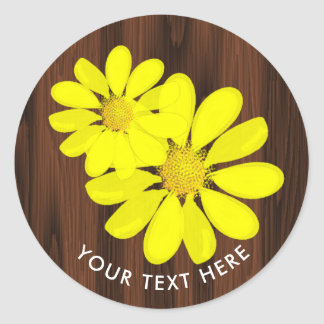 Sunny Yellow Sunflowers Rustic Personalized Classic Round Sticker