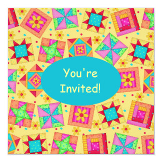 Sunny Yellow & Turquoise Patchwork Quilt Block Art Personalized Announcements
