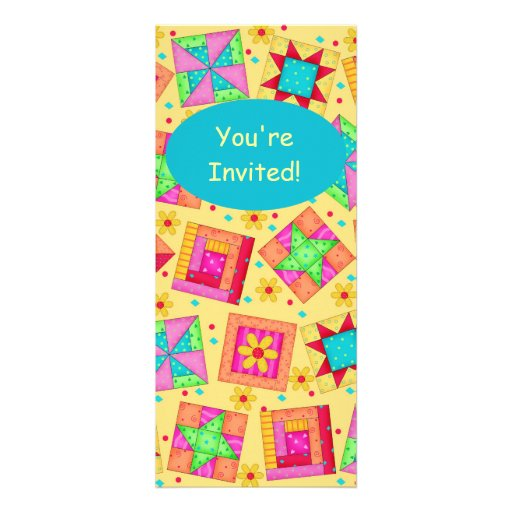 Sunny Yellow & Turquoise Patchwork Quilt Block Art Custom Announcements