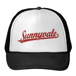 Sunnyvale script logo in red cap