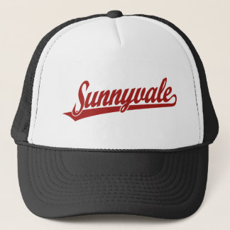 Sunnyvale script logo in red trucker hat