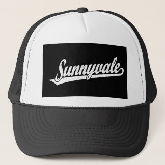 Sunnyvale script logo in white distressed trucker hat