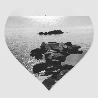 Sunrays scattered by clouds over Trieste Bay Heart Sticker