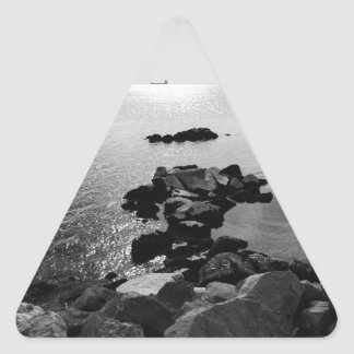 Sunrays scattered by clouds over Trieste Bay Triangle Sticker