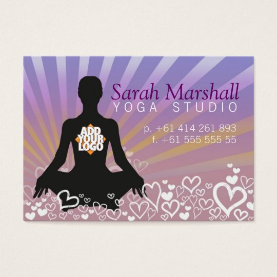 Sunrays Yoga Silhouette with Logo Business Card