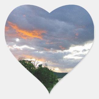 Sunrise Along the Ohio River Heart Sticker