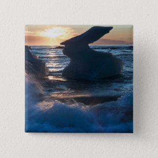 Sunrise and iceberg formation on the beach 15 cm square badge