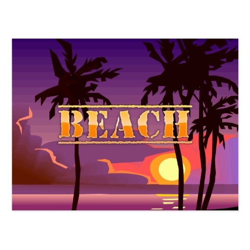 Sunrise and Palm Trees Beach Postcard