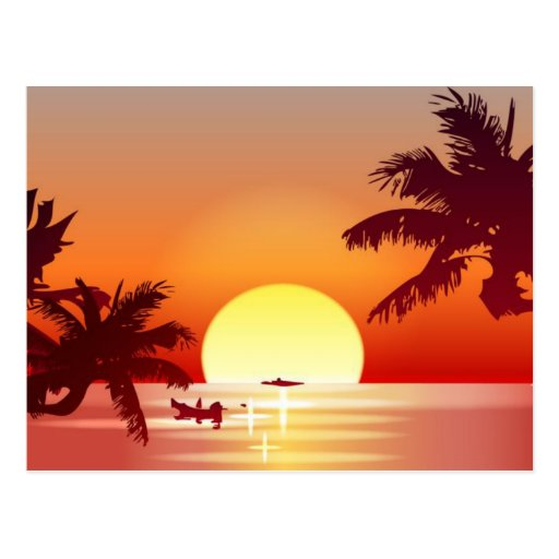 Sunrise and Palm Trees Postcard