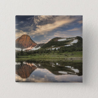 Sunrise and reflection, Glacier National Park, 15 Cm Square Badge