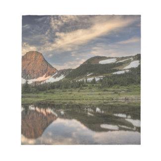 Sunrise and reflection, Glacier National Park, Notepad