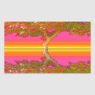 Sunrise and Sunset with Tree Rectangular Sticker