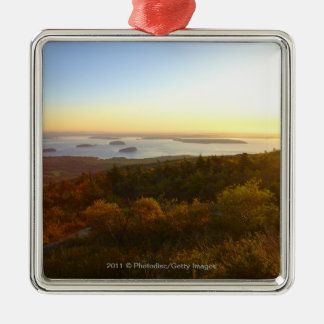 Sunrise at Cadillac Mountain with Hikers Silver-Colored Square Decoration