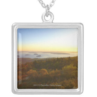 Sunrise at Cadillac Mountain with Hikers Silver Plated Necklace