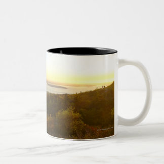 Sunrise at Cadillac Mountain with Hikers Two-Tone Coffee Mug