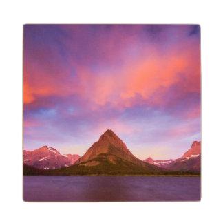 Sunrise at Glacier Maple Wood Coaster