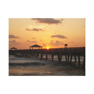 Sunrise at Juno Beach Pier Canvas Print