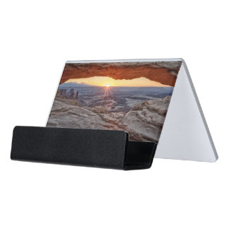 Sunrise at Mesa Arch, Canyonlands National Park Desk Business Card Holder