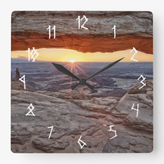Sunrise at Mesa Arch, Canyonlands National Park Square Wall Clock